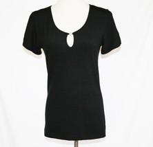 Mondi Stretch Dark Black Rayon Spandex Keyhole Top Size 36  #1879 - $25.00