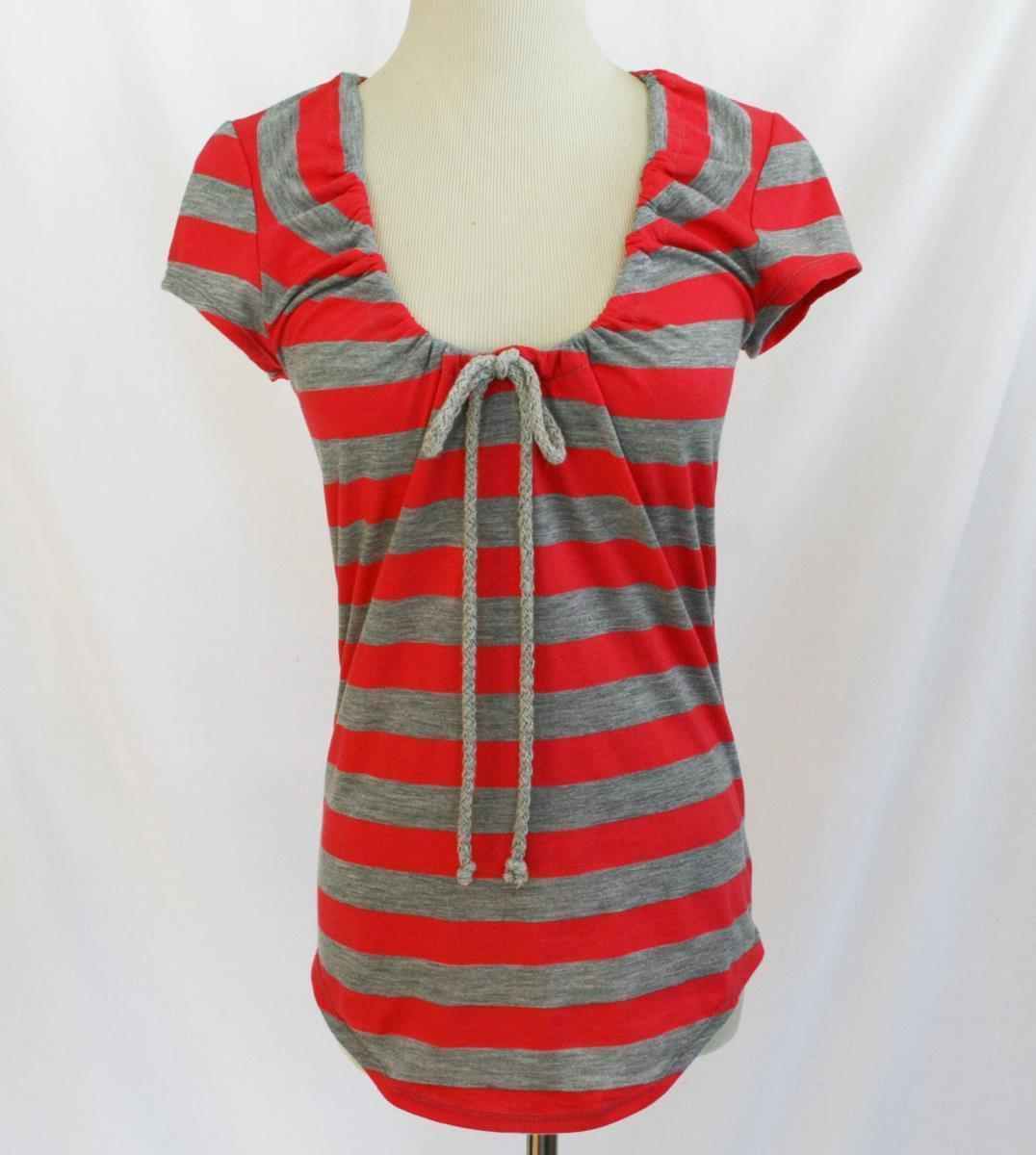 Sweet Pea Stacy Frati Grey Coral Stripe T-Shirt Top Small EUC  #1865
