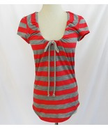 Sweet Pea Stacy Frati Grey Coral Stripe T-Shirt Top Small EUC  #1865 - $32.00