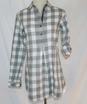 Tommy Hilfiger Cotton White Grey Tunic Roll Up Long Sleeve Top Size 2   #1869 - $38.00