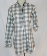 Tommy Hilfiger Cotton White Grey Tunic Roll Up Long Sleeve Top Size 2   ... - $38.00