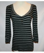 JUICY COUTURE Black Grey 3/4 Sleeve Pima Cotton Top Small     #1221 - $35.00