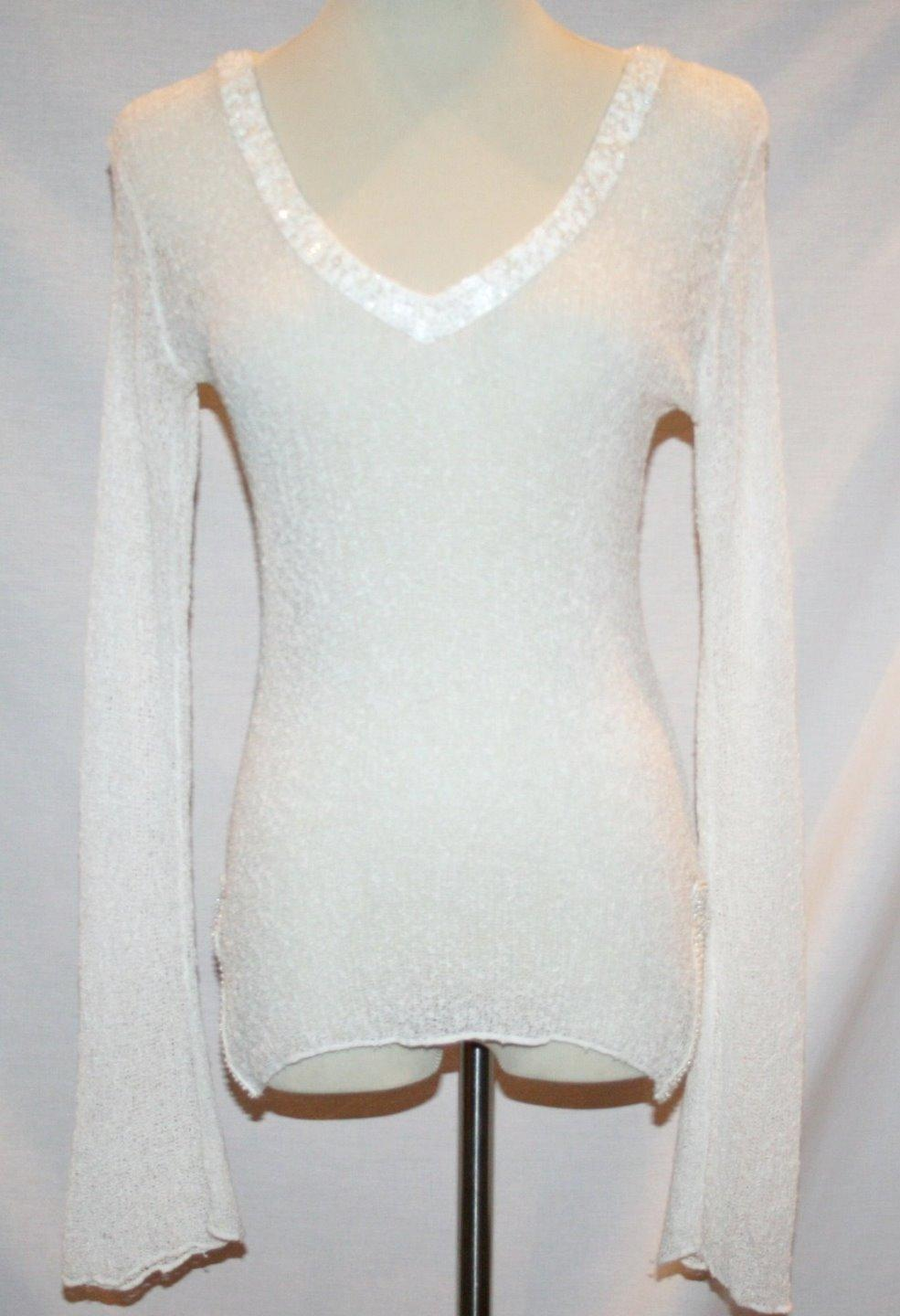 PURP7E White Mesh Long Sleeve Beaded Trim Sheer Cover Up Top  Small      #1224