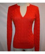 RALPH LAUREN BLACK LABEL Linen Silk Cable Knit Orange Sweater Small    1210 - $199.00