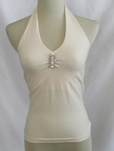 Bordeaux Seamless Ivory Layering Stretch Halter Top & Brooch One Size   ... - $32.00