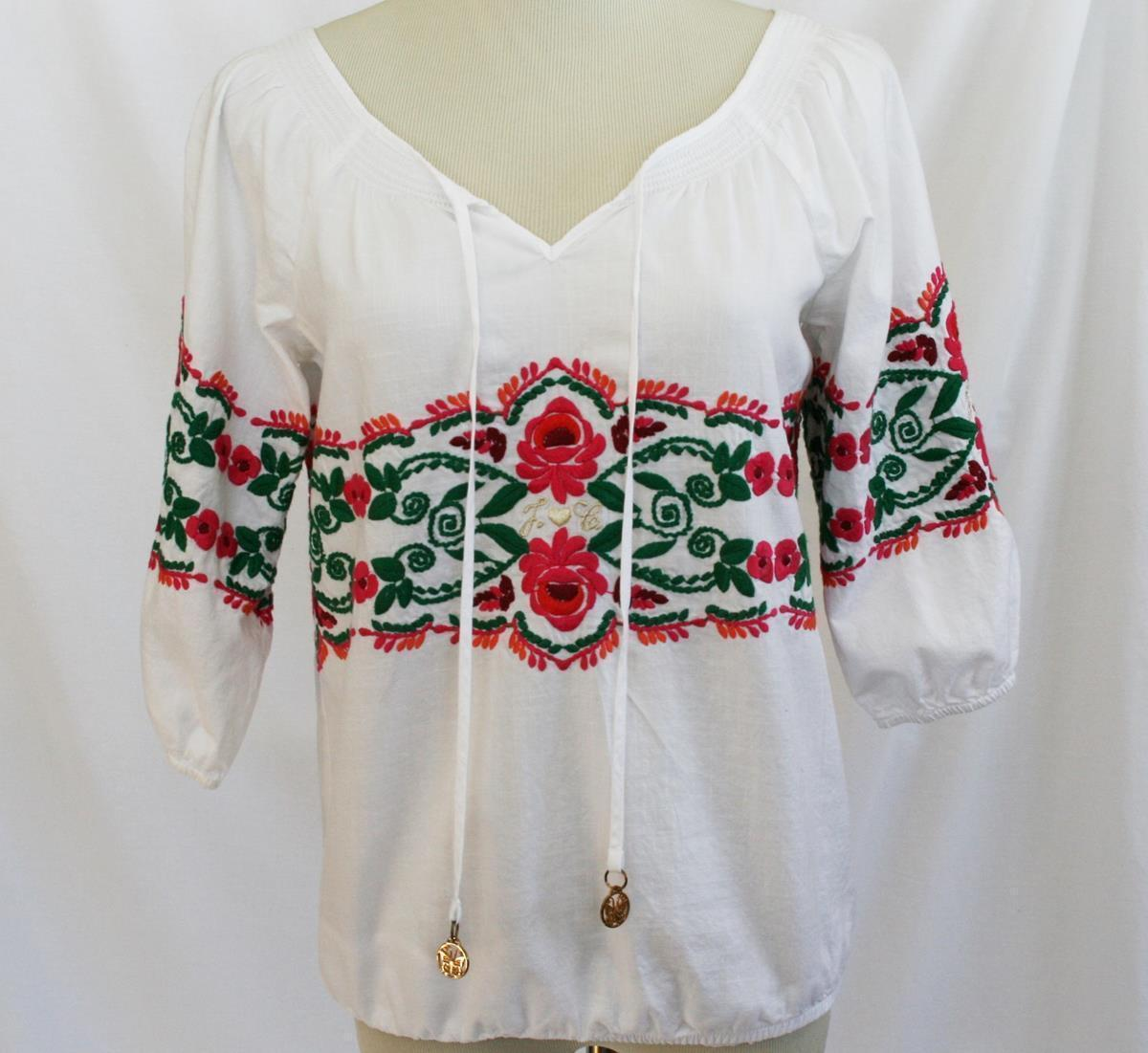 Juicy Couture White Cotton Embroidered Blouse Size 2 -EUC-   #1868