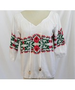 Juicy Couture White Cotton Embroidered Blouse Size 2 -EUC-   #1868 - $49.00