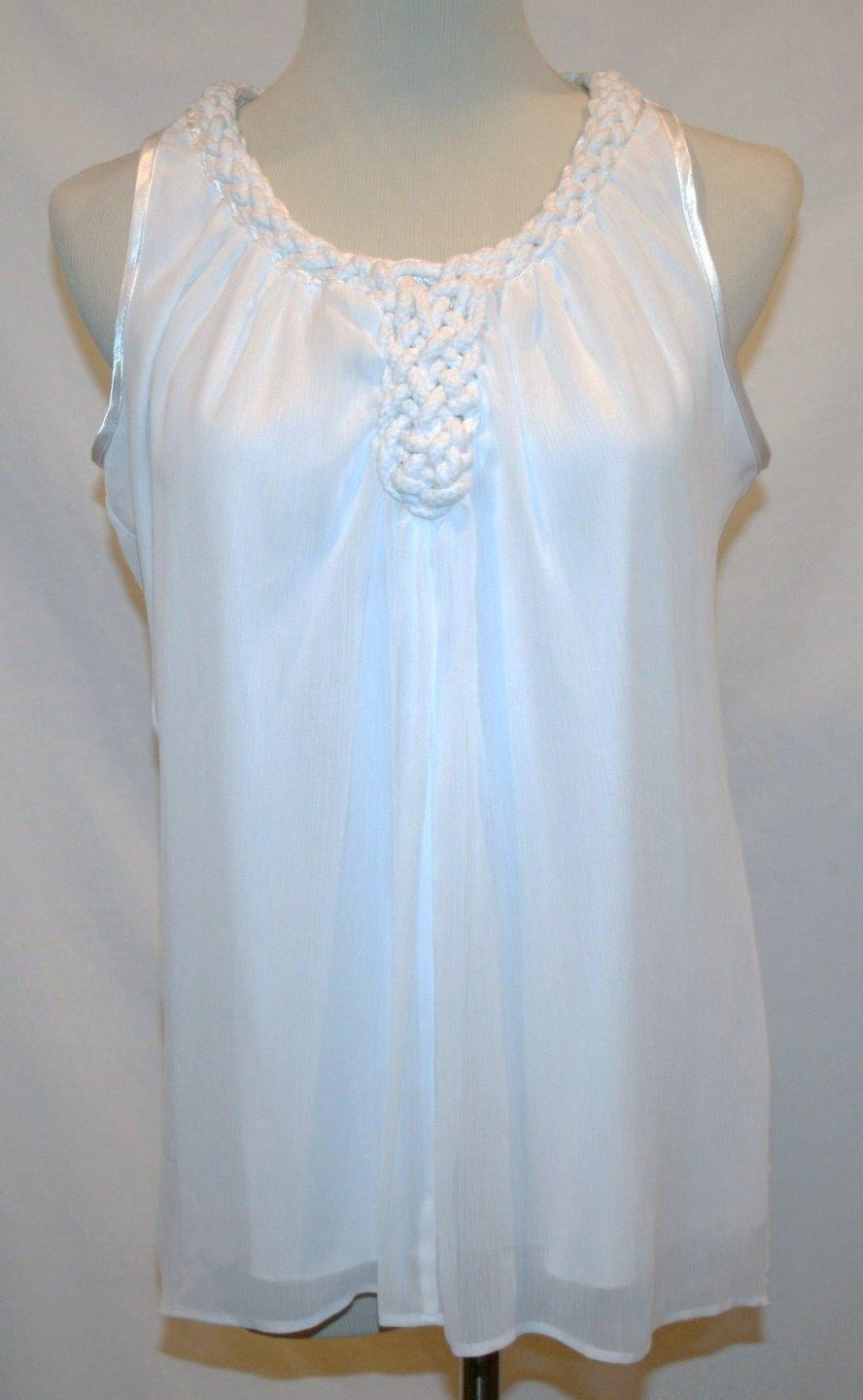 Sioni White Sleeveless Rope Neck Lined Blouse  Small   #1370