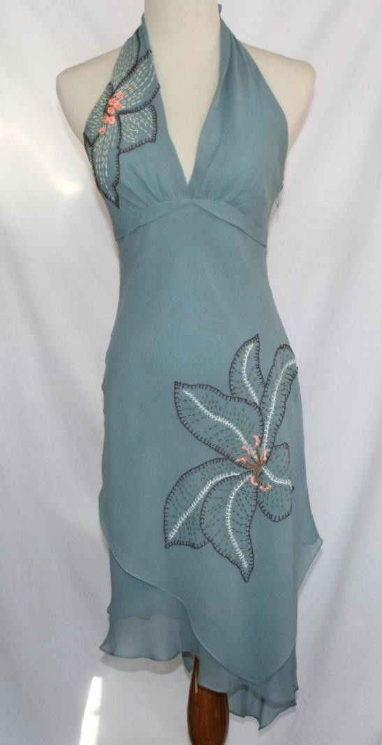 BCBG MAXAZRIA Dusty Blue 100% Silk Asymmetrical Halter Dress Size 4  #1272