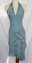 BCBG MAXAZRIA Dusty Blue 100% Silk Asymmetrical Halter Dress Size 4  #1272 - $129.00
