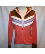 OBERMEYER Peach Cream Fleece Trim Wool Ski Sweater Hoodie Medium      1151 - $49.00