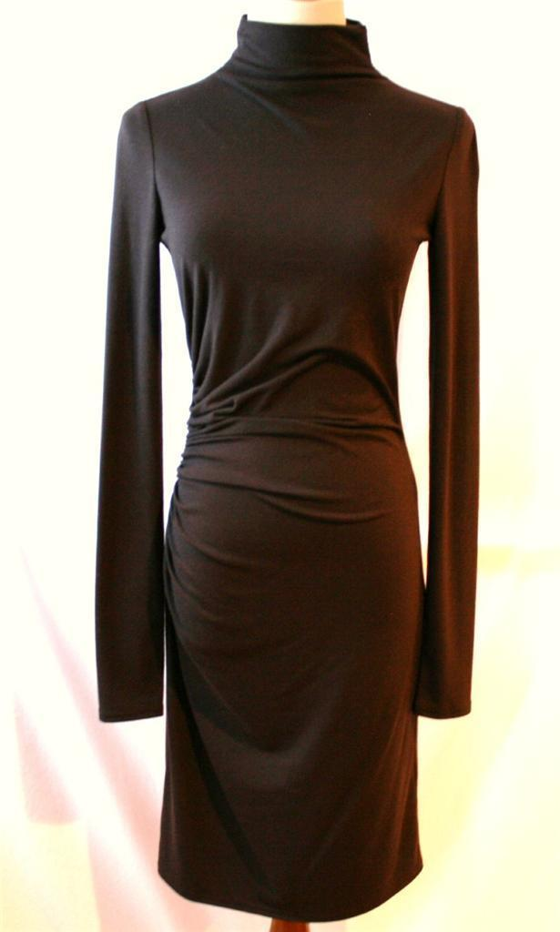 VERA WANG LAVENDER LABEL Brown Ruched Slim Fit Dress Size 2 36           #1208