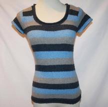 BCBG Max Azria Blue Gray Striped Wool Blend Sweater Top XS / S   #1853 - $42.00