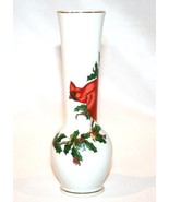 LEFTON Japan Gold Trim Cardinal Holly Bud Vase  #966 - $20.01 CAD