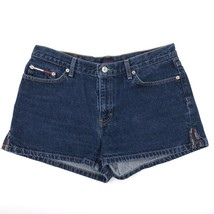 Tommy Hilfiger Jean Shorts Womens Size 11 Dark Blue Denim Flag Logo - $23.76