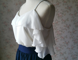 Cold Shoulder White Chiffon Top Wedding Bridesmaids Chiffon Top Plus Size image 3