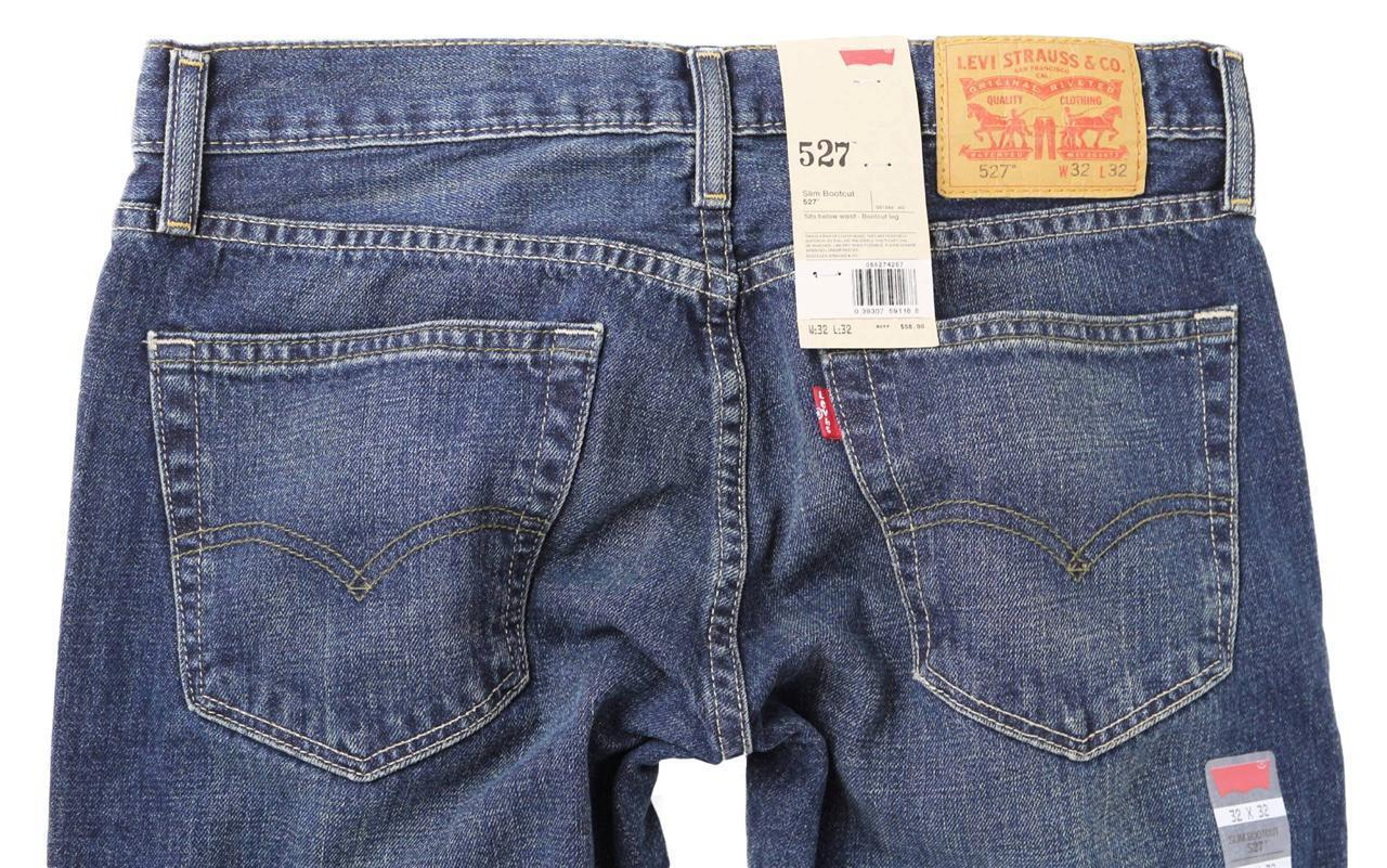 NEW LEVI'S 527 MEN'S PREMIUM CLASSIC SLIM FIT BOOTCUT LEG JEANS  BLUE 527-4257