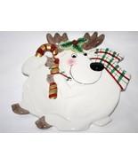 Fitz & Floyd Essentials Plaid Christmas Deer Reindeer Canape Plate  #1392 - $16.00