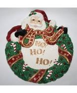 Fitz & Floyd Essentials Santa with Wreath Canape Plate  MIB  #1396 - $18.00