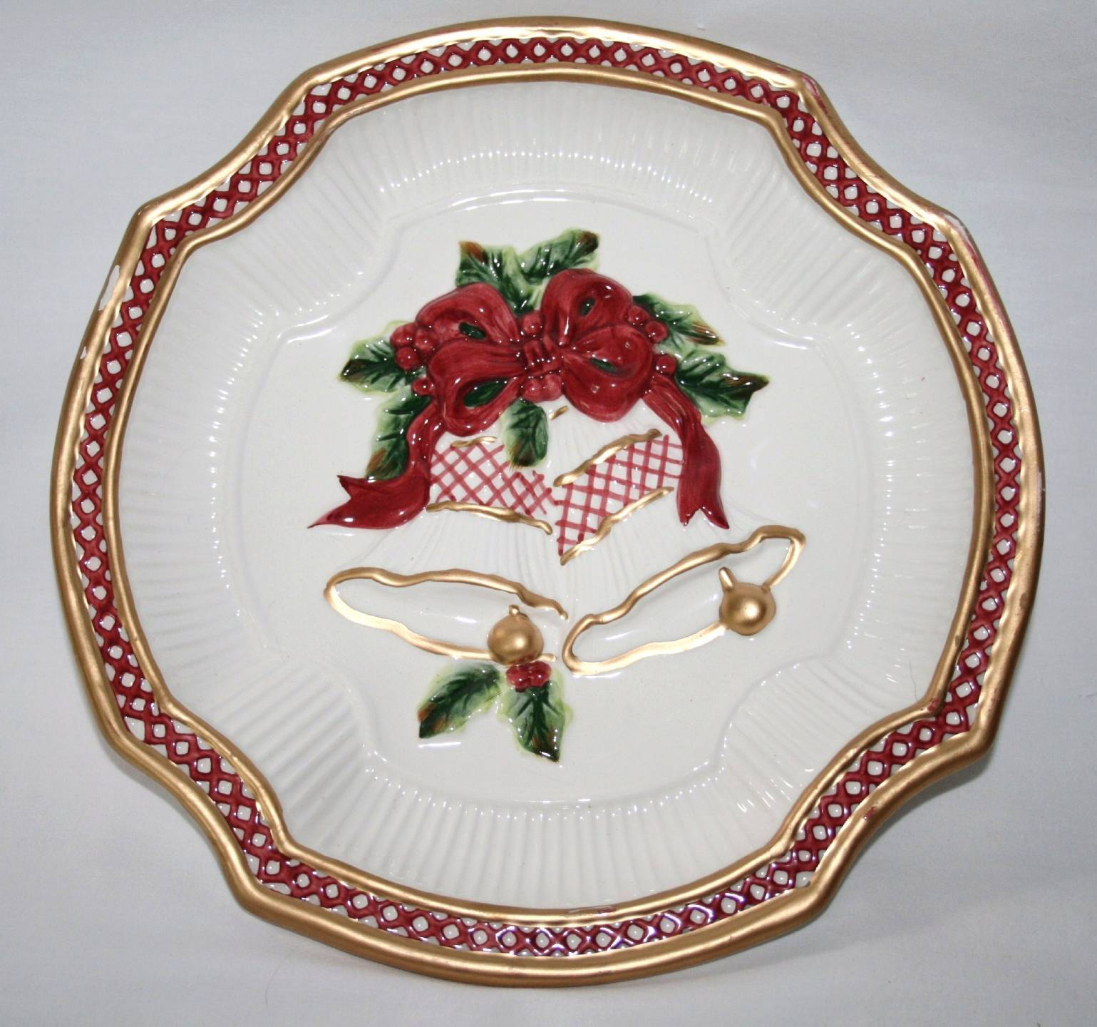 Fitz floyd holiday bells canape plate 1389 fitz floyd for What is a canape plate used for