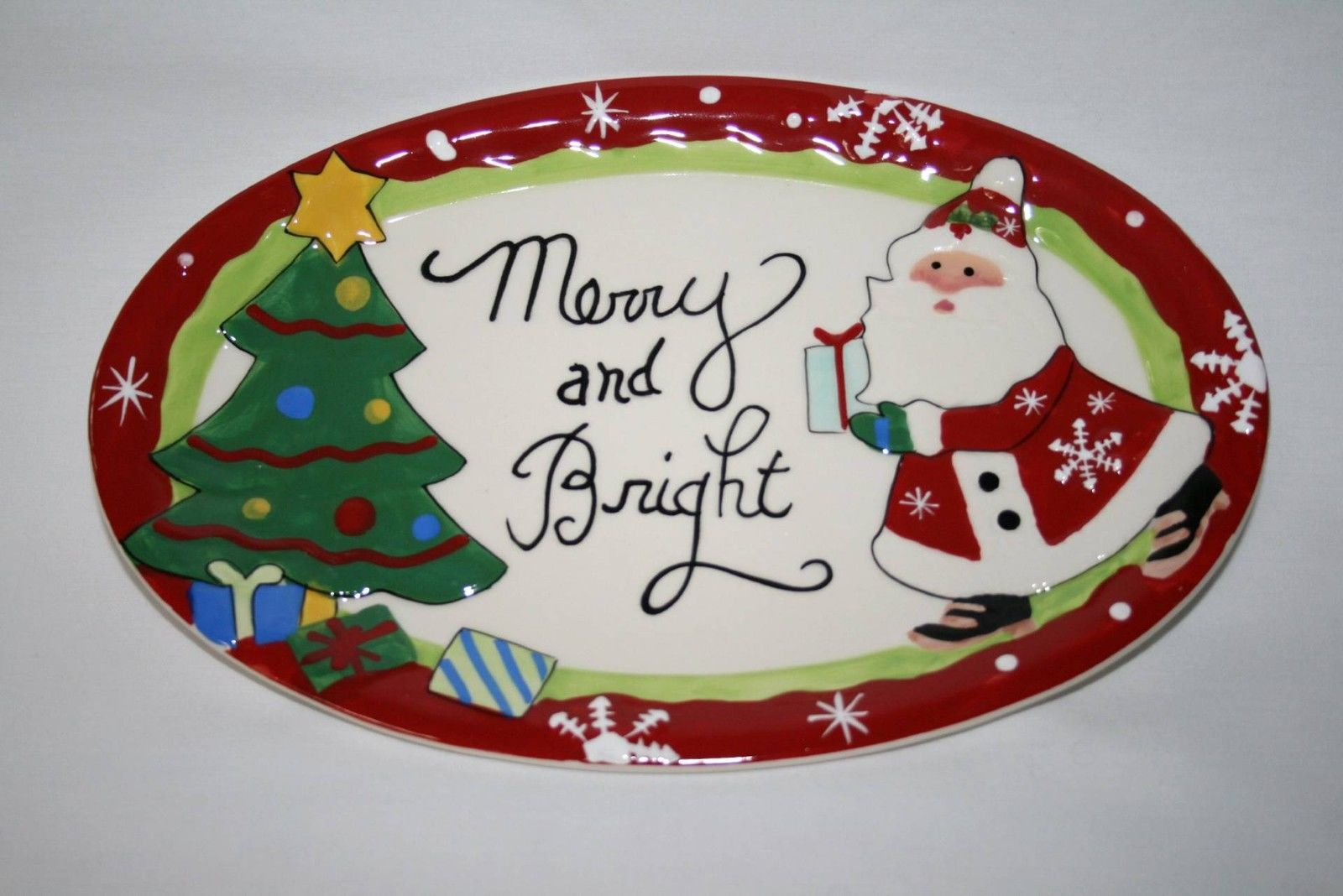Fitz & Floyd Merry & Bright Santa Sentiment Tray  NIB  #1399