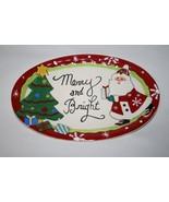 Fitz & Floyd Merry & Bright Santa Sentiment Tray  NIB  #1399 - $18.00