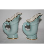 Vintage Lenox USA Green Mark Set/2 Sky Blue Horn of Plenty Cornucopia Vases - $70.00