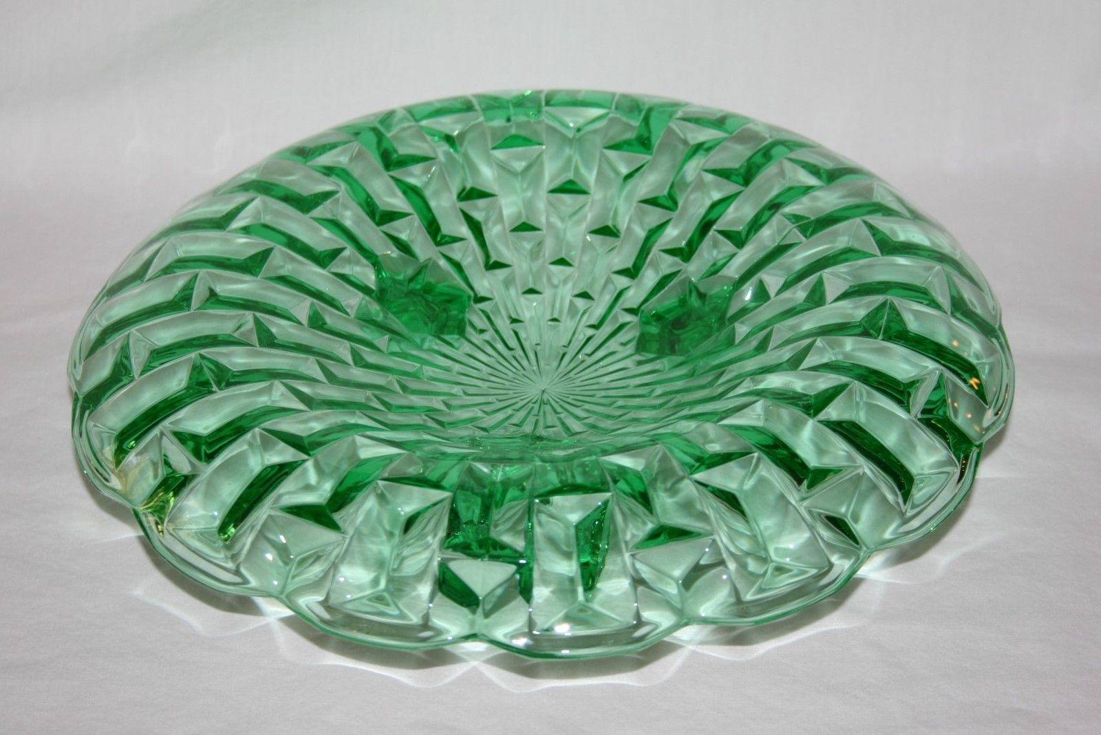 "Central Glass Co. Frances Green Geometric Footed 11"" Centerpiece Console Bowl"