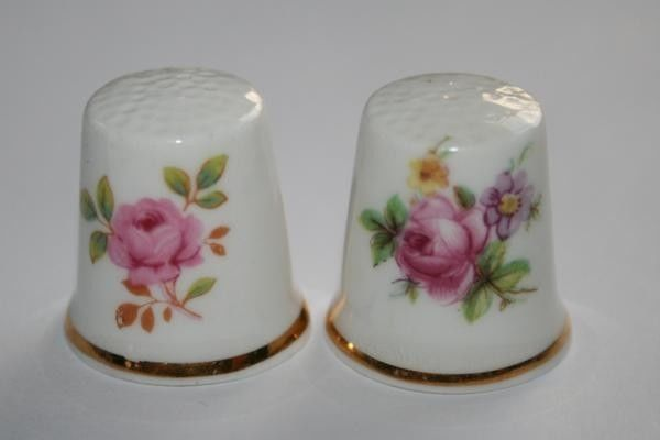 VICTORIAN Floral Bone China England Thimbles Set of *2*  #577