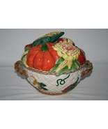 Fitz & Floyd 1996 Golden Harvest Round Covered Bowl with Handles  #1397 - $90.00