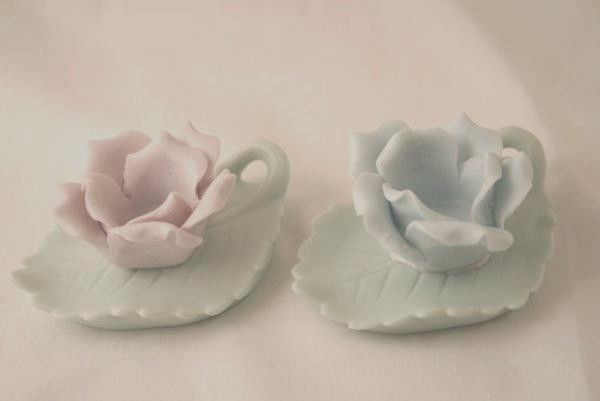 ARDALT Vintage Bisque Pastel Rose Candle Holders  #521