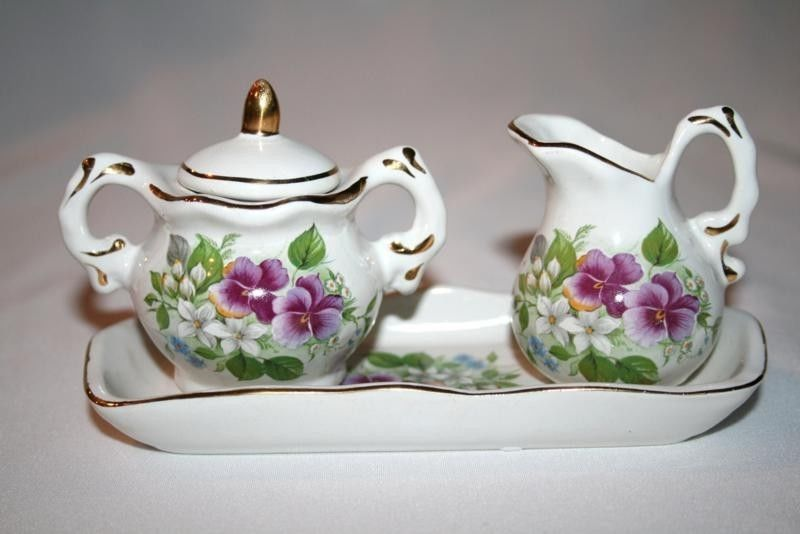 Pansy Florals Ceramic Mini Creamer Covered Sugar on Tray  #1087
