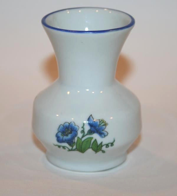 LEART Brazil Mini White Vase Blue Florals  #707