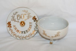 Lefton Japan #2606 3 Footed 50th Anniversary Candy Bowl with Lid  #1941 - $20.00