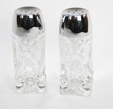Anchor Hocking Early American Prescut Clear Salt Pepper Shaker Set   #1793 - $20.00