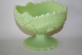 Fenton Handmade Lime Sherbet Satin Glass Compote   #1566 - $38.00