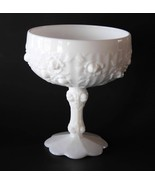 Fenton White Milk Glass Embossed Roses Rosebud Compote   #1577 - $28.00