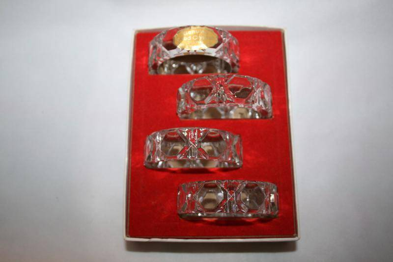 Vintage West Germany Set of 4 Clear Crystal Round Napkin Rings in Box   #1475