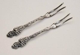 Vintage Nils Johan Sweden Silverplate Set of 2 Lemon Cocktail Forks #1694 - $25.00
