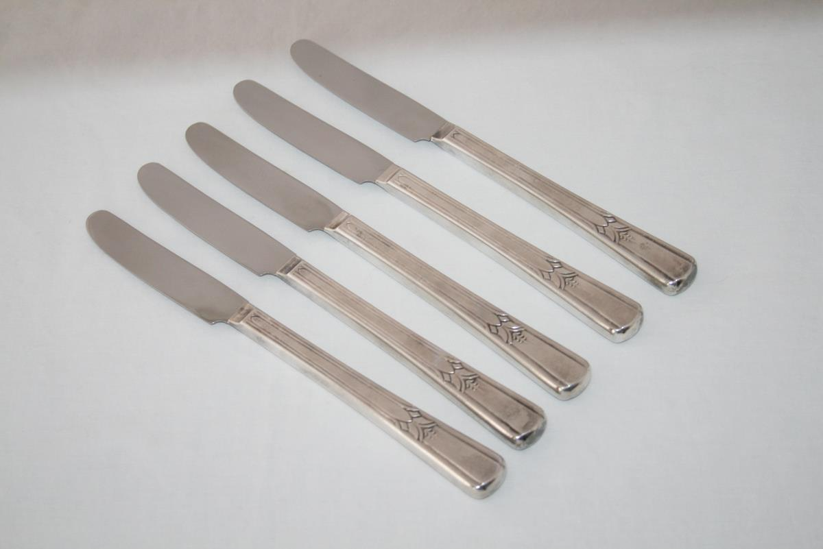 International Wm Rogers Silverplate 1939 -Sovereign- Set of 5 Grill Knives #2000