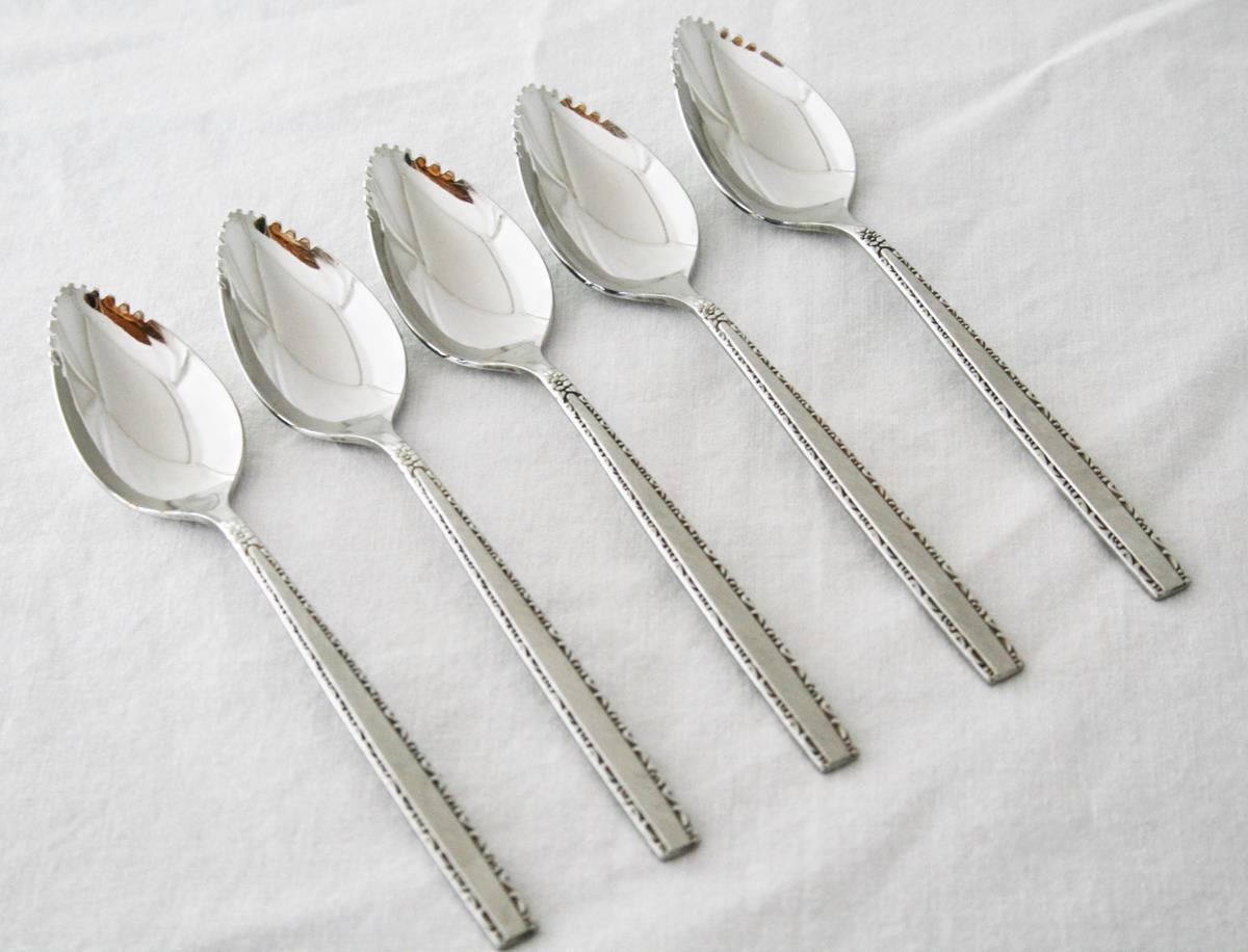 Set of 5 Oneida Community Stainless Via Roma Fruit Spoons  #1980