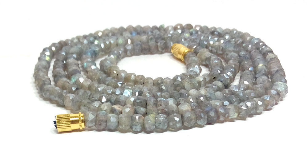 """Silverite Labradorite 3-4mm rondelle faceted beads 18"""" beaded Choker necklace"""