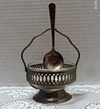 Vintage,silver plate,basket,bowl,pierced design,with handle & spoon - $11.50