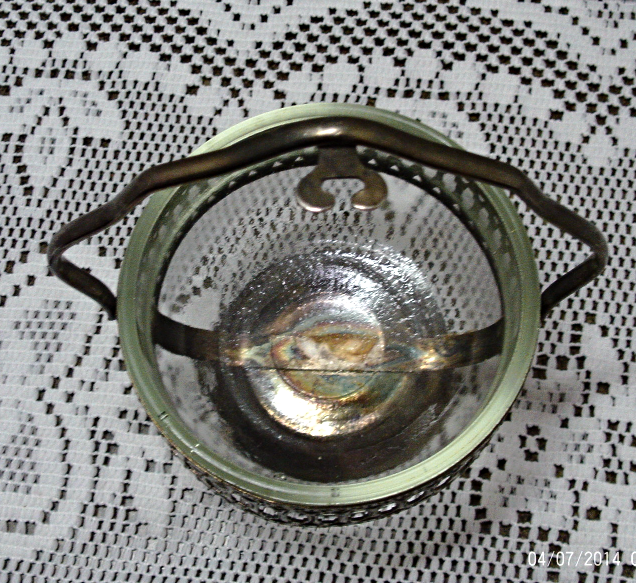 Vintage,silver plate,basket,bowl,pierced design,with handle & spoon