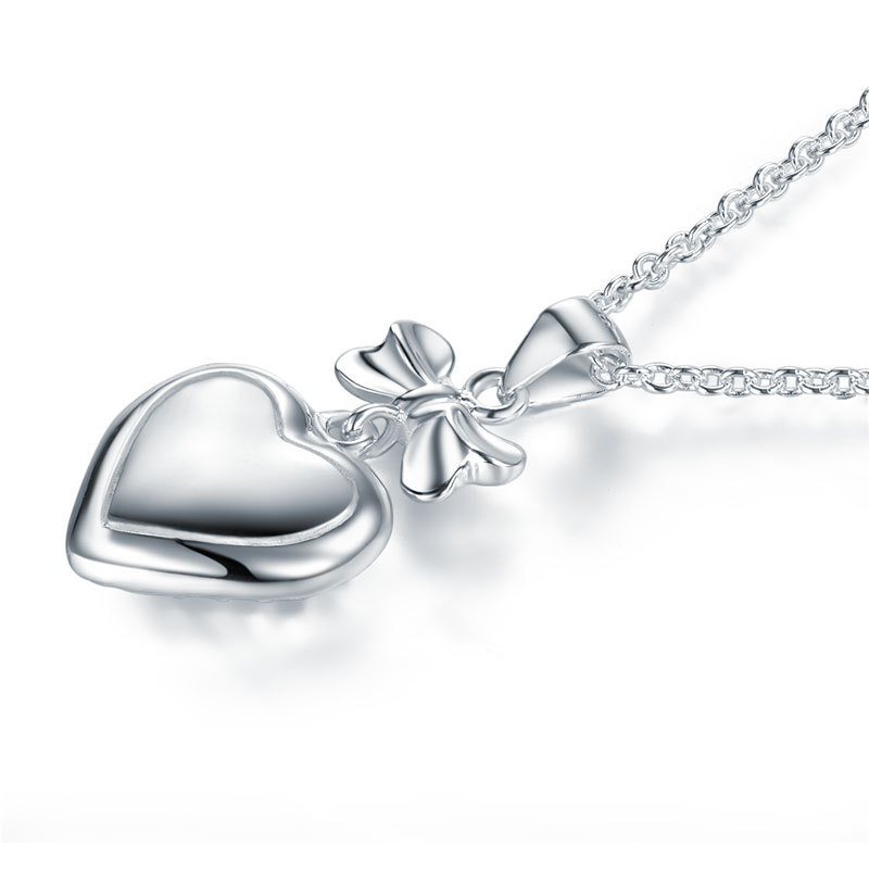 Kids Girl Ribbon Heart Pendant Necklace Solid 925 Sterling Silver Jewelry FN8064