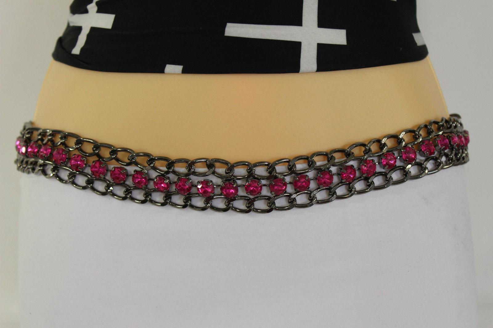 New Women Tie Fabric Belt Black Red Blue Hip Waist Chains Big Rhinestones S M L