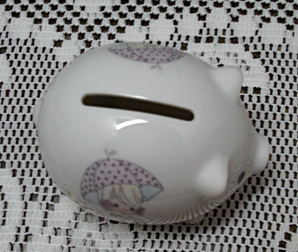 Vintage Enesco Precious Moments Miniature Piggy Bank Still Life Pig Shaped Bank