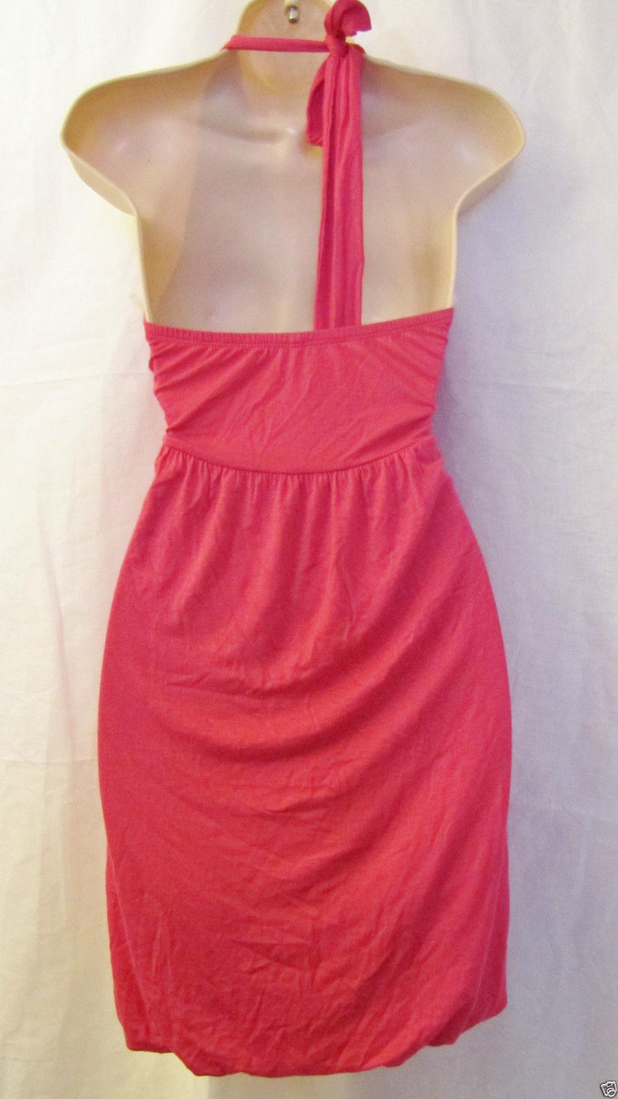 New Julie's Closet Knit Halter Beach Dress Swim Cover Up Sz M Medium Hot Pink