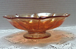Vintage Clear Marigold Depression Glass Ruffled Rim Ribbed Design Fruit ... - $11.25