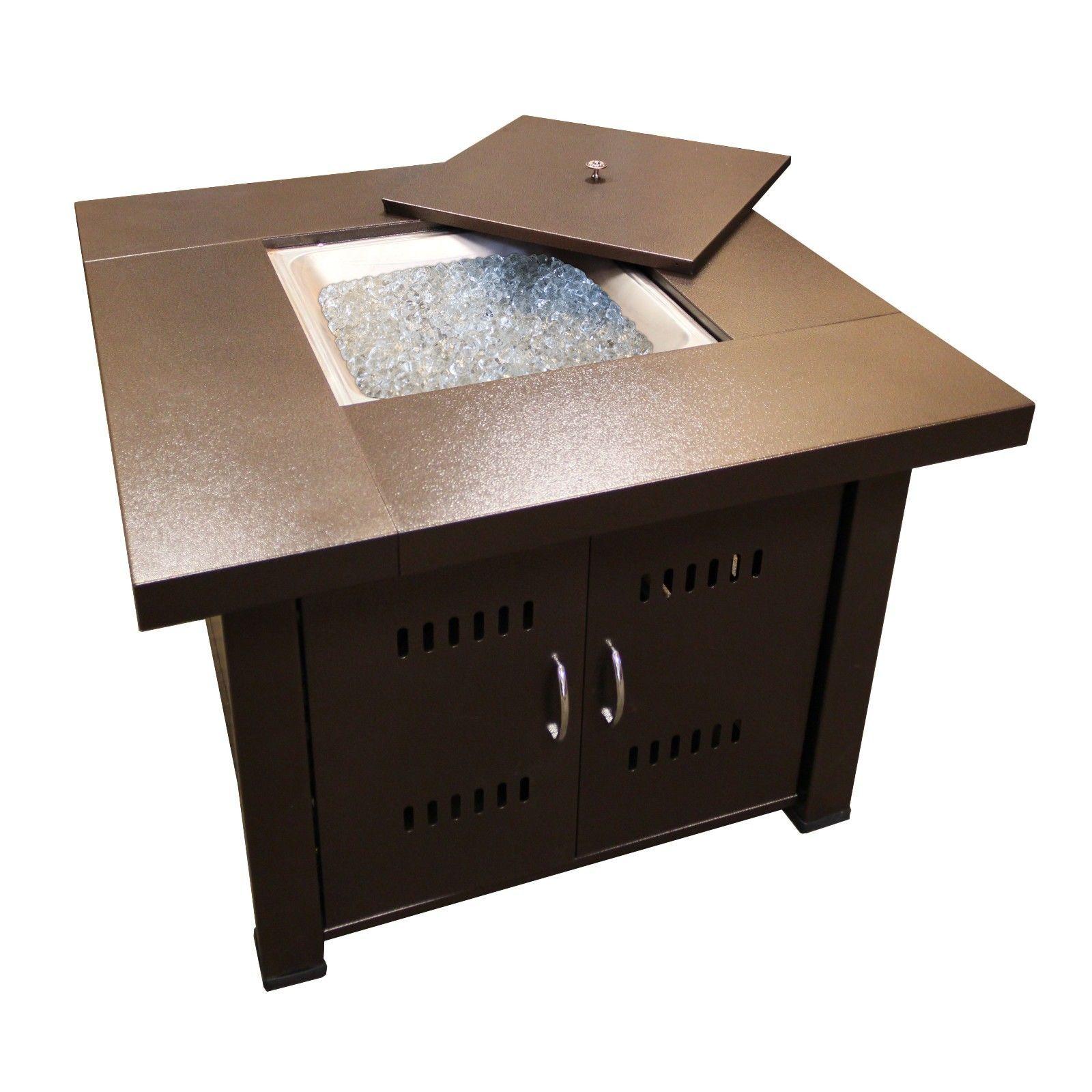 Propane Fire Pit Table Patio Gas Starter Fireglass Square Top  Butane Bronze